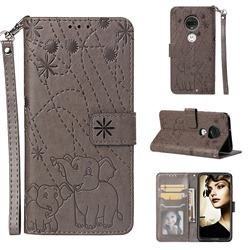 Embossing Fireworks Elephant Leather Wallet Case for Motorola Moto G7 / G7 Plus - Gray