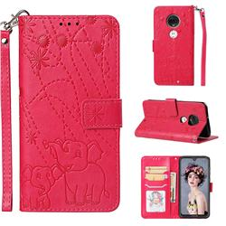 Embossing Fireworks Elephant Leather Wallet Case for Motorola Moto G7 / G7 Plus - Red