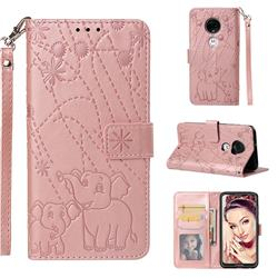 Embossing Fireworks Elephant Leather Wallet Case for Motorola Moto G7 / G7 Plus - Rose Gold