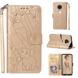 Embossing Fireworks Elephant Leather Wallet Case for Motorola Moto G7 / G7 Plus - Golden