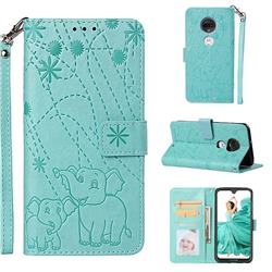 Embossing Fireworks Elephant Leather Wallet Case for Motorola Moto G7 / G7 Plus - Green