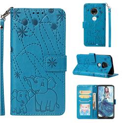 Embossing Fireworks Elephant Leather Wallet Case for Motorola Moto G7 / G7 Plus - Blue