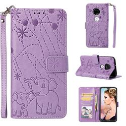 Embossing Fireworks Elephant Leather Wallet Case for Motorola Moto G7 / G7 Plus - Purple
