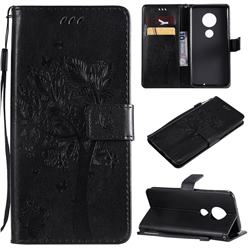 Embossing Butterfly Tree Leather Wallet Case for Motorola Moto G7 / G7 Plus - Black