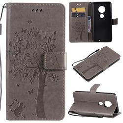 Embossing Butterfly Tree Leather Wallet Case for Motorola Moto G7 / G7 Plus - Grey