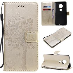 Embossing Butterfly Tree Leather Wallet Case for Motorola Moto G7 / G7 Plus - Champagne