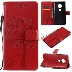 Embossing Butterfly Tree Leather Wallet Case for Motorola Moto G7 / G7 Plus - Red