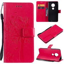 Embossing Butterfly Tree Leather Wallet Case for Motorola Moto G7 / G7 Plus - Rose