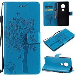 Embossing Butterfly Tree Leather Wallet Case for Motorola Moto G7 / G7 Plus - Blue