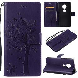 Embossing Butterfly Tree Leather Wallet Case for Motorola Moto G7 / G7 Plus - Purple