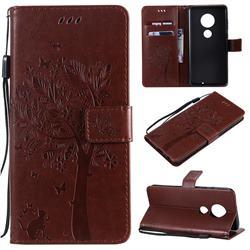 Embossing Butterfly Tree Leather Wallet Case for Motorola Moto G7 / G7 Plus - Coffee