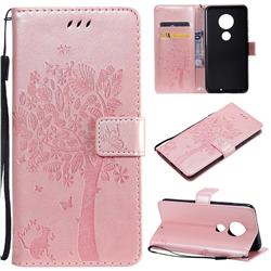 Embossing Butterfly Tree Leather Wallet Case for Motorola Moto G7 / G7 Plus - Rose Pink