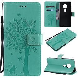Embossing Butterfly Tree Leather Wallet Case for Motorola Moto G7 / G7 Plus - Cyan