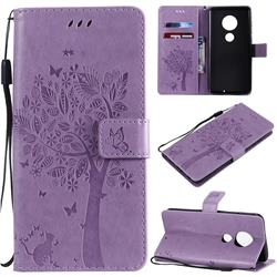 Embossing Butterfly Tree Leather Wallet Case for Motorola Moto G7 / G7 Plus - Violet