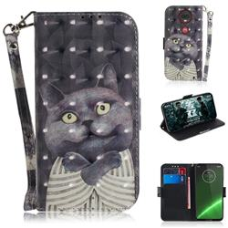Cat Embrace 3D Painted Leather Wallet Phone Case for Motorola Moto G7 / G7 Plus