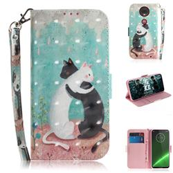 Black and White Cat 3D Painted Leather Wallet Phone Case for Motorola Moto G7 / G7 Plus