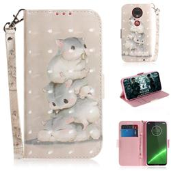 Three Squirrels 3D Painted Leather Wallet Phone Case for Motorola Moto G7 / G7 Plus