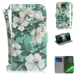 Watercolor Flower 3D Painted Leather Wallet Phone Case for Motorola Moto G7 / G7 Plus