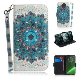 Peacock Mandala 3D Painted Leather Wallet Phone Case for Motorola Moto G7 / G7 Plus