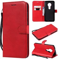 Retro Greek Classic Smooth PU Leather Wallet Phone Case for Motorola Moto G7 / G7 Plus - Red