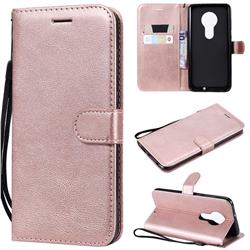 Retro Greek Classic Smooth PU Leather Wallet Phone Case for Motorola Moto G7 / G7 Plus - Rose Gold