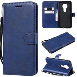Retro Greek Classic Smooth PU Leather Wallet Phone Case for Motorola Moto G7 / G7 Plus - Blue