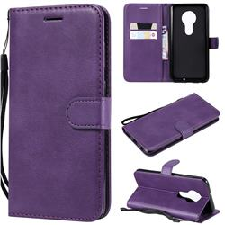 Retro Greek Classic Smooth PU Leather Wallet Phone Case for Motorola Moto G7 / G7 Plus - Purple