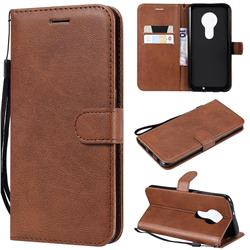 Retro Greek Classic Smooth PU Leather Wallet Phone Case for Motorola Moto G7 / G7 Plus - Brown