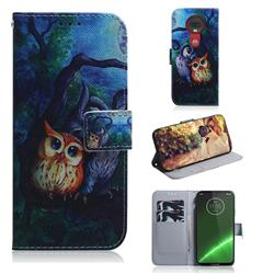 Oil Painting Owl PU Leather Wallet Case for Motorola Moto G7 / G7 Plus