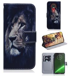Lion Face PU Leather Wallet Case for Motorola Moto G7 / G7 Plus