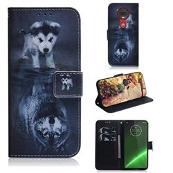 Wolf and Dog PU Leather Wallet Case for Motorola Moto G7 / G7 Plus