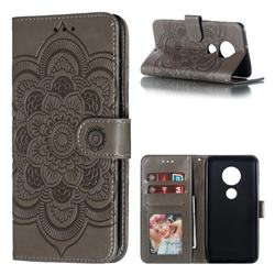 Intricate Embossing Datura Solar Leather Wallet Case for Motorola Moto G7 / G7 Plus - Gray