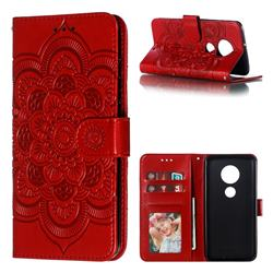 Intricate Embossing Datura Solar Leather Wallet Case for Motorola Moto G7 / G7 Plus - Red