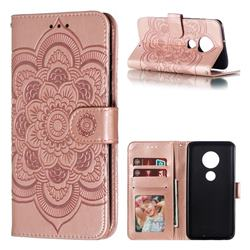 Intricate Embossing Datura Solar Leather Wallet Case for Motorola Moto G7 / G7 Plus - Rose Gold