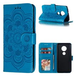 Intricate Embossing Datura Solar Leather Wallet Case for Motorola Moto G7 / G7 Plus - Blue