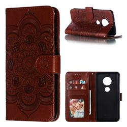 Intricate Embossing Datura Solar Leather Wallet Case for Motorola Moto G7 / G7 Plus - Brown