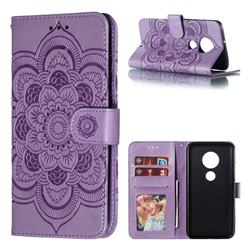 Intricate Embossing Datura Solar Leather Wallet Case for Motorola Moto G7 / G7 Plus - Purple
