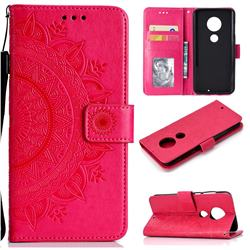 Intricate Embossing Datura Leather Wallet Case for Motorola Moto G7 / G7 Plus - Rose Red