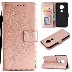 Intricate Embossing Datura Leather Wallet Case for Motorola Moto G7 / G7 Plus - Rose Gold