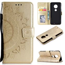 Intricate Embossing Datura Leather Wallet Case for Motorola Moto G7 / G7 Plus - Golden