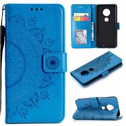 Intricate Embossing Datura Leather Wallet Case for Motorola Moto G7 / G7 Plus - Blue