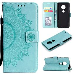 Intricate Embossing Datura Leather Wallet Case for Motorola Moto G7 / G7 Plus - Mint Green