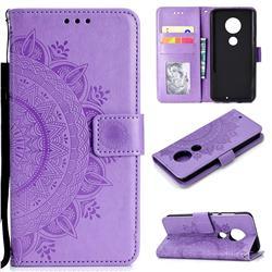 Intricate Embossing Datura Leather Wallet Case for Motorola Moto G7 / G7 Plus - Purple