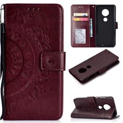 Intricate Embossing Datura Leather Wallet Case for Motorola Moto G7 / G7 Plus - Brown