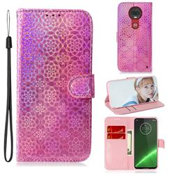 Laser Circle Shining Leather Wallet Phone Case for Motorola Moto G7 / G7 Plus - Pink
