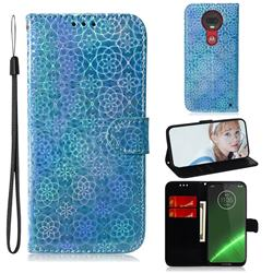Laser Circle Shining Leather Wallet Phone Case for Motorola Moto G7 / G7 Plus - Blue