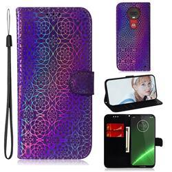 Laser Circle Shining Leather Wallet Phone Case for Motorola Moto G7 / G7 Plus - Purple