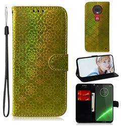 Laser Circle Shining Leather Wallet Phone Case for Motorola Moto G7 / G7 Plus - Golden