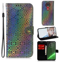 Laser Circle Shining Leather Wallet Phone Case for Motorola Moto G7 / G7 Plus - Silver