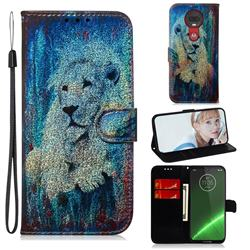 White Lion Laser Shining Leather Wallet Phone Case for Motorola Moto G7 / G7 Plus